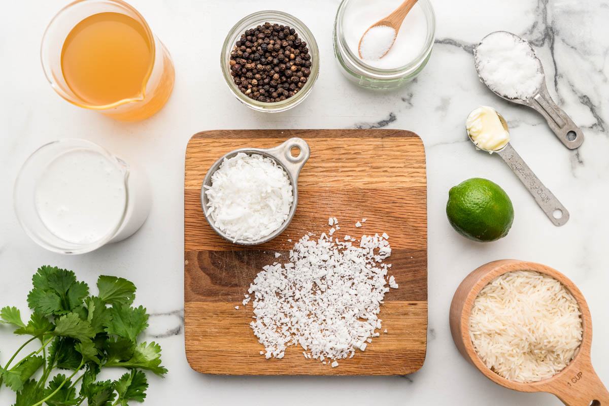 Ingredients for coconut lime rice recipe