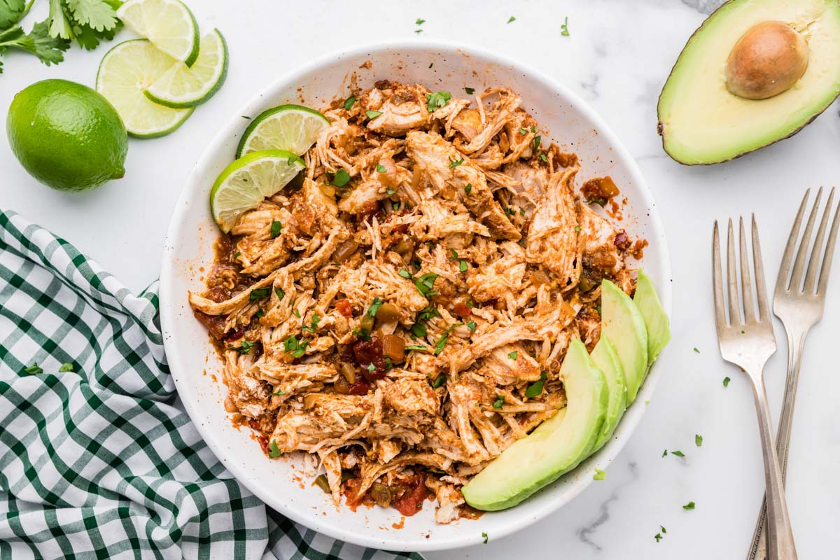 Instant pot Mexican chicken shredded in a bowl