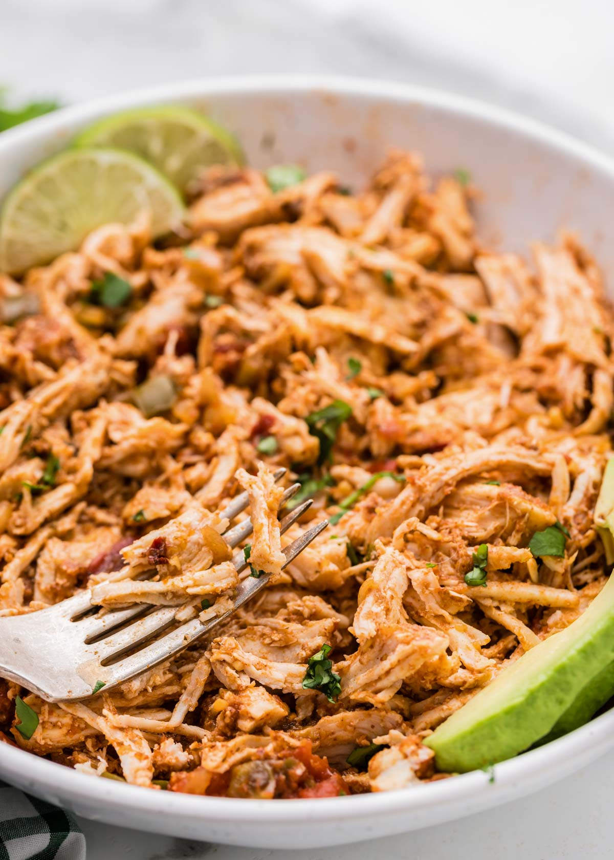 Close up of Instant Pot Mexican shredded chicken