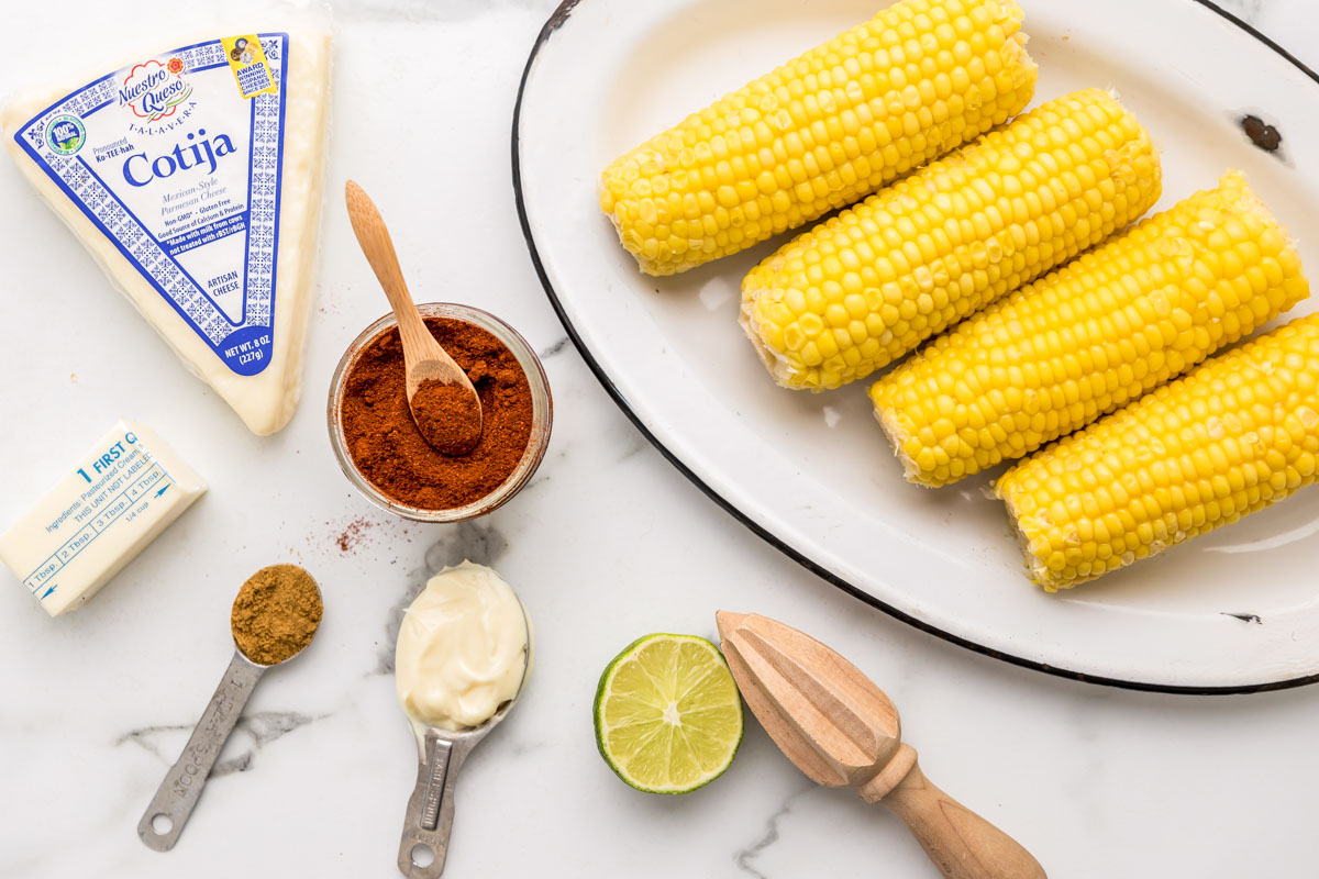 Ingredients for Mexican Corn on the Cob Recipe