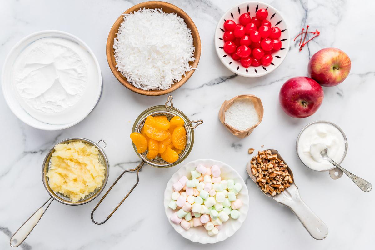 Ingredients for ambrosia salad recipe