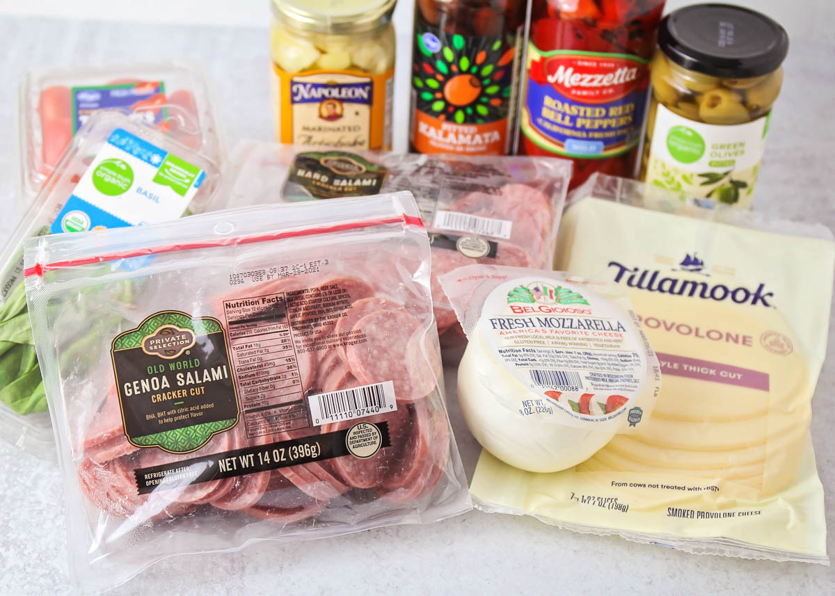 Ingredients for antipasto salad recipe