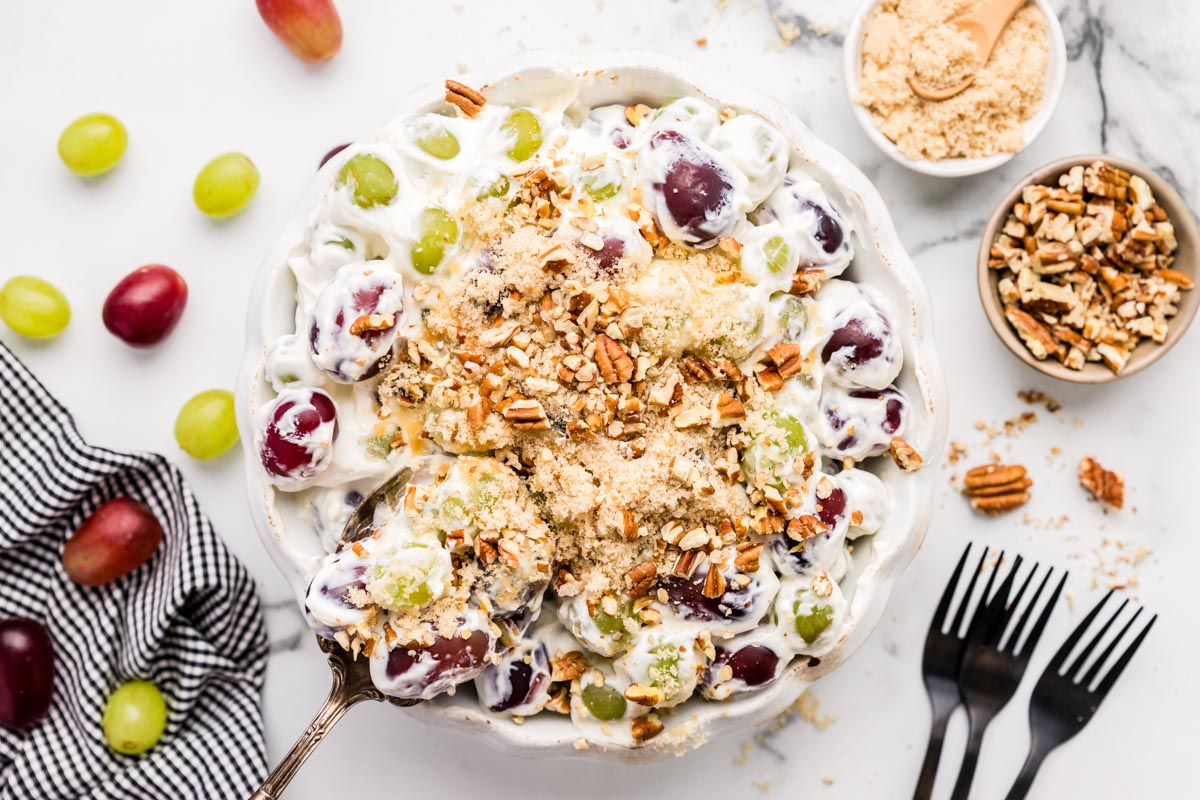 Grape salad in a serving dish