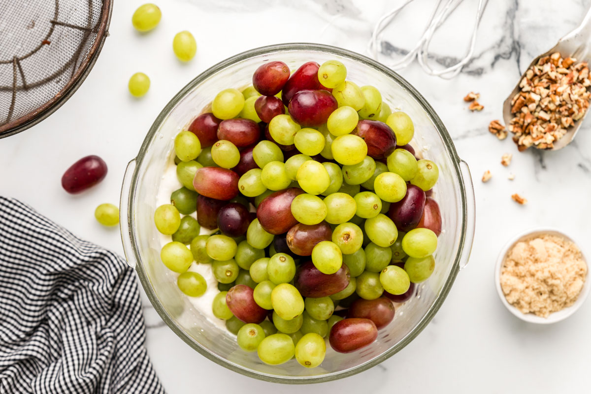 A bowl of fresh grapes to use in grape salad recipe