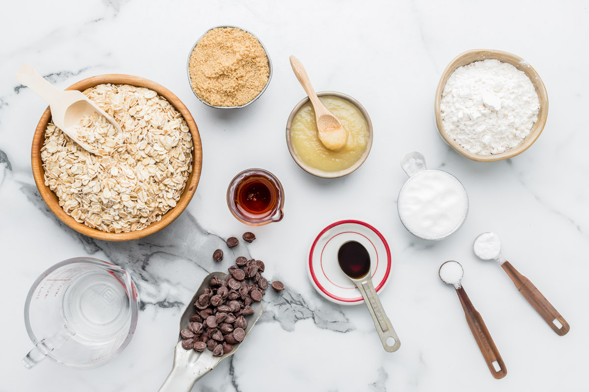 Ingredients for healthy oatmeal cookie recipe