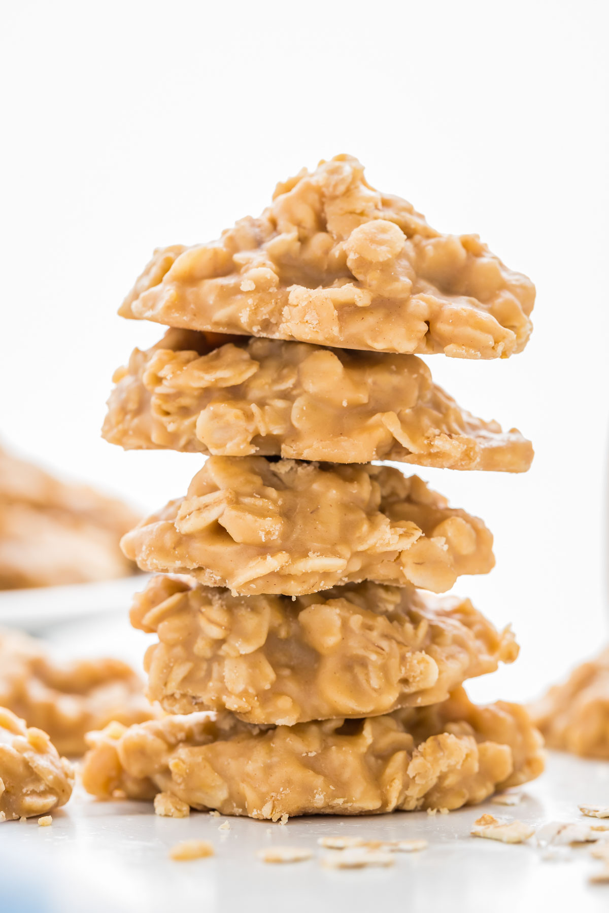 Close up of a stack of peanut butter no bake cookies