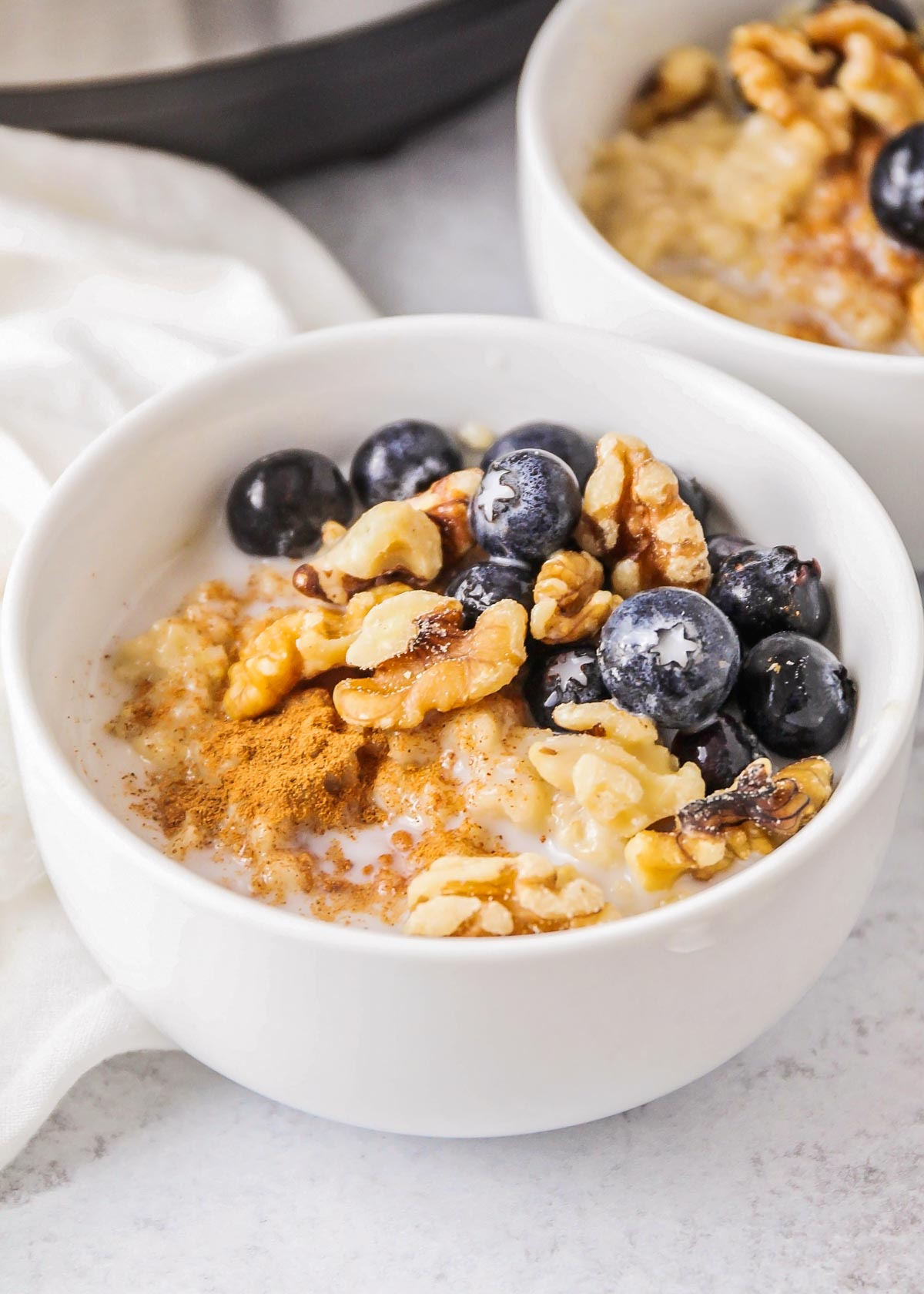 Instant pot oatmeal topped with blueberries and walnuts