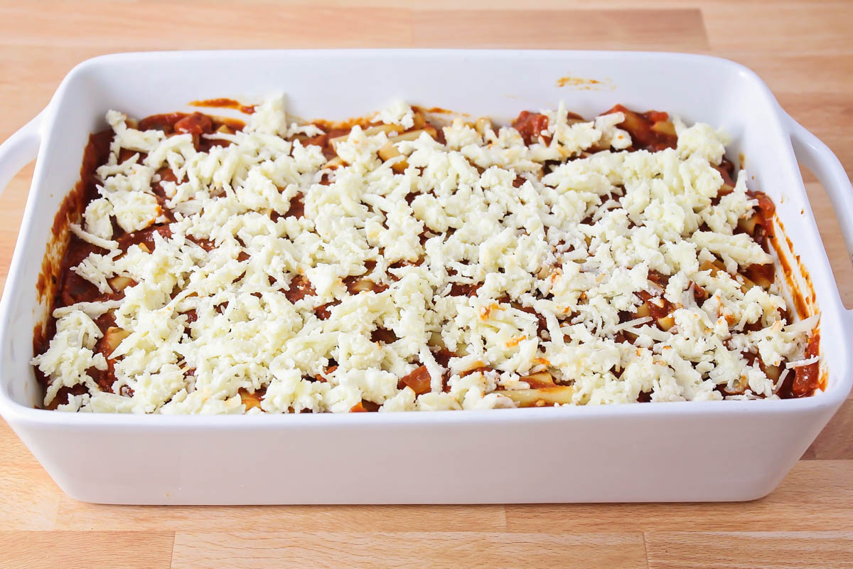 Baked ziti with no meat in a baking dish