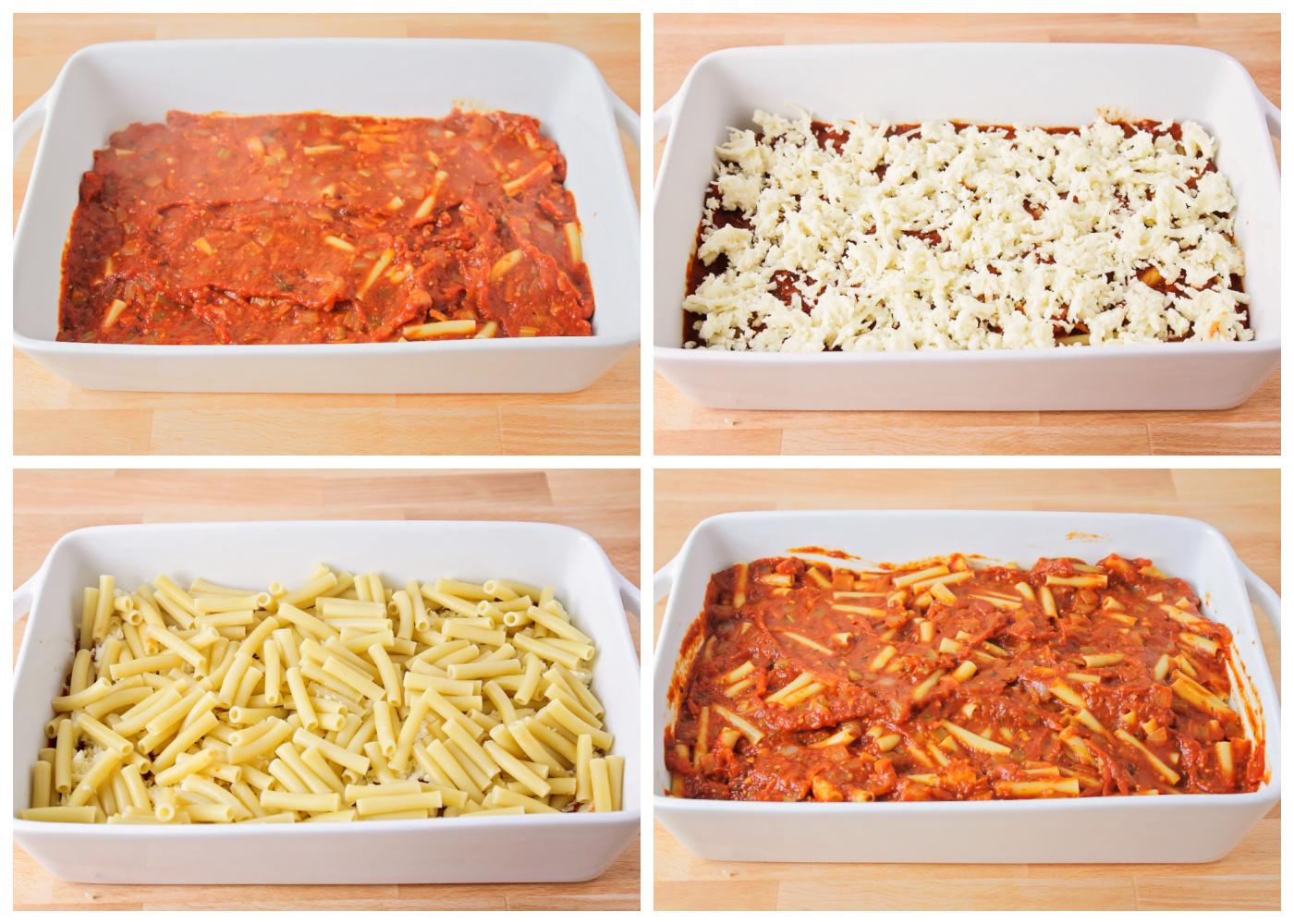How to make baked ziti - layering pasta, sauce, and cheese
