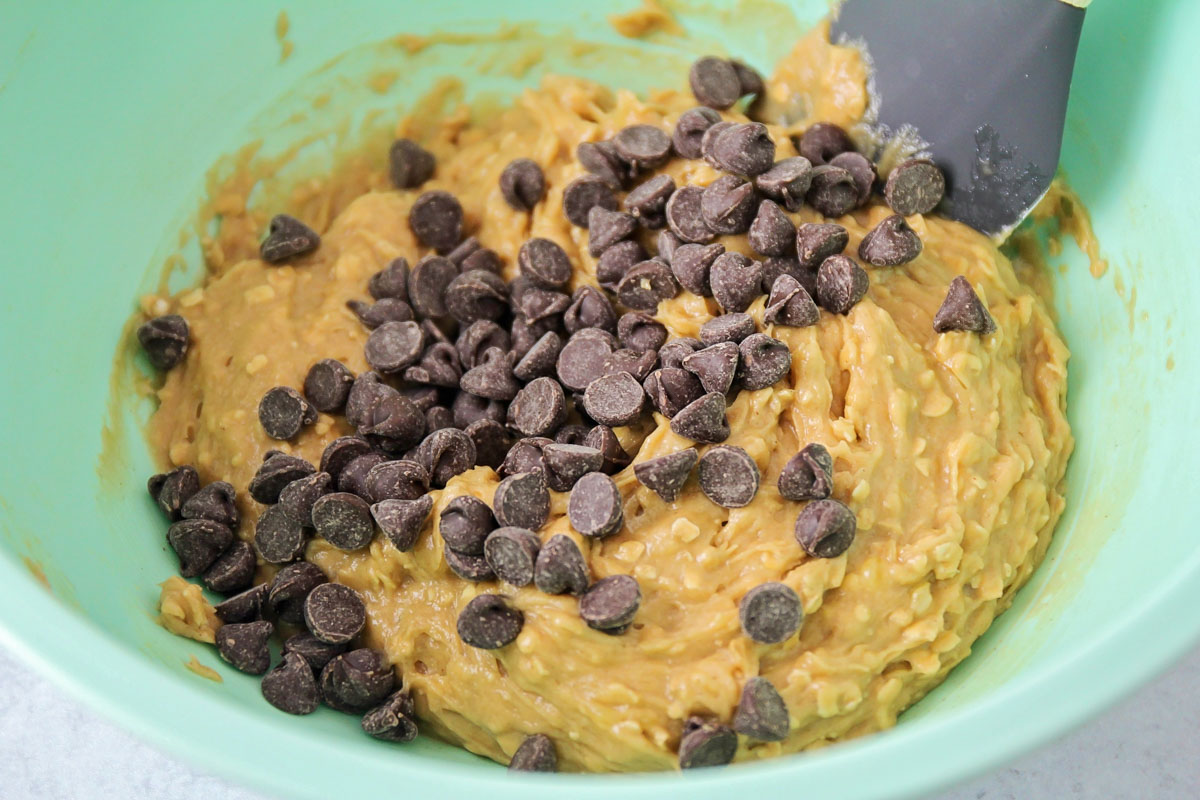 Mixing dough for peanut butter banana cookie recipe