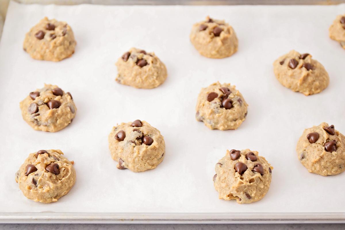 Peanut Butter Banana chocolate chip cookies on a baking sheet