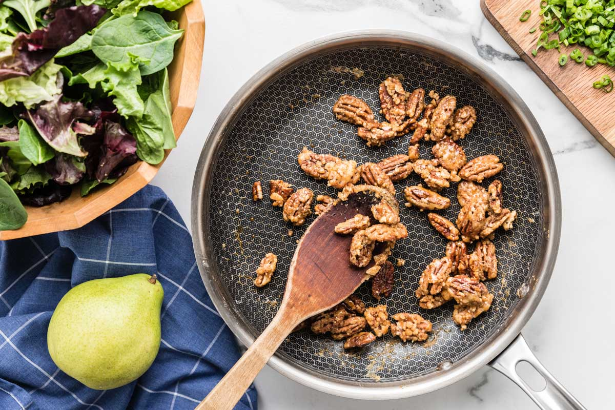 Toasting candied walnuts for a salad topping