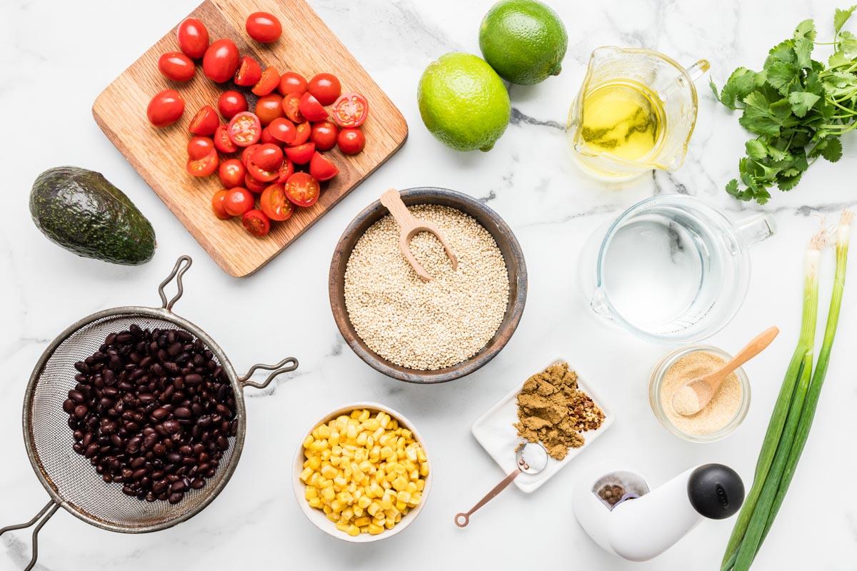 Ingredients for quinoa salad recipe