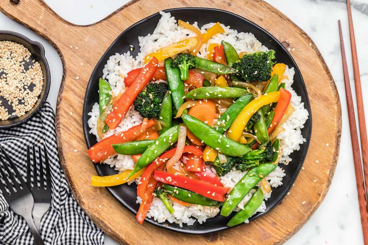 Vegetable Stir Fry served over white rice