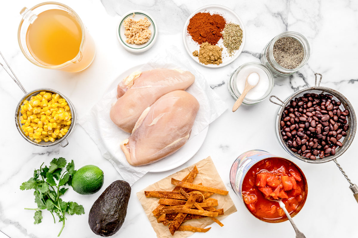 Ingredients for instant pot chicken tortilla soup recipe