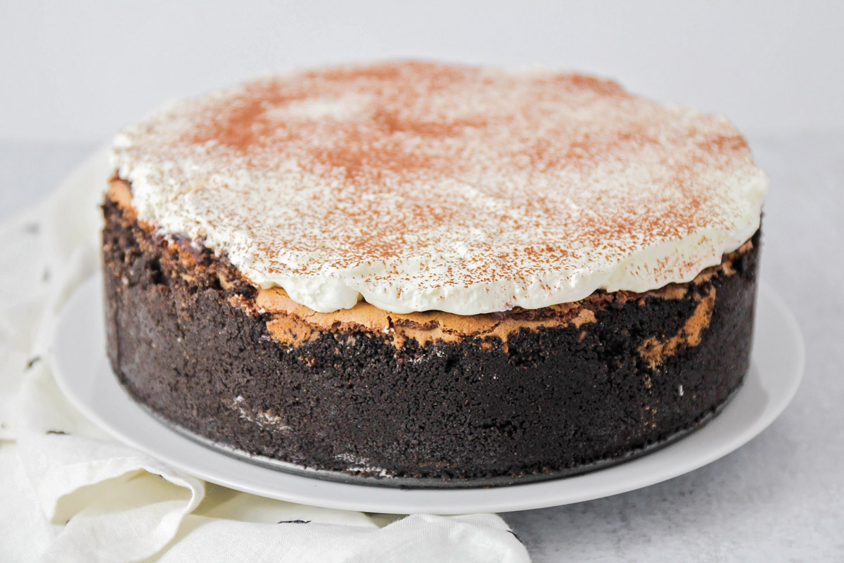 Mississippi mud pie with whipped cream topping