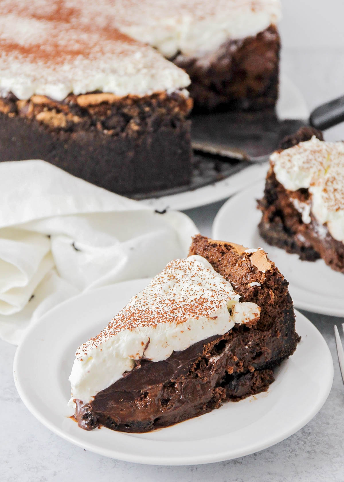 Close up of a slice of Mississippi mud pie