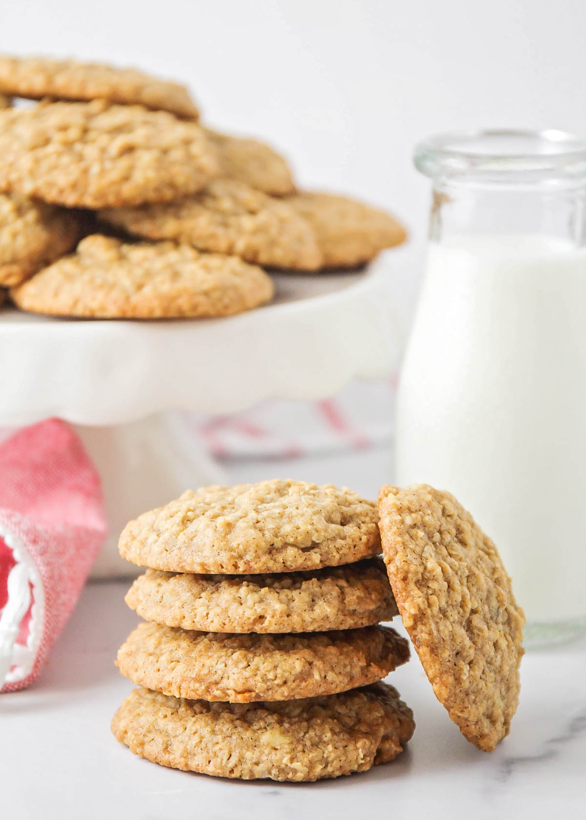 A stack of homemade oatmeal cookies