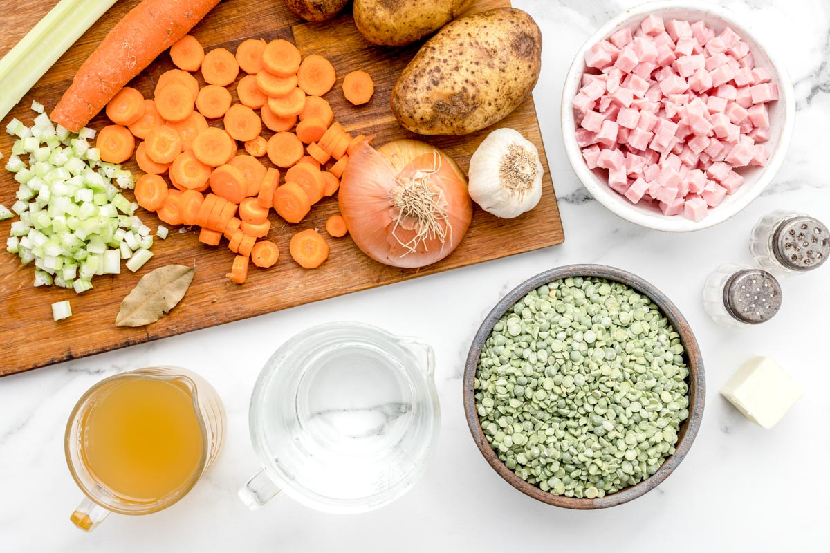 Ingredients for split pea and ham soup recipe