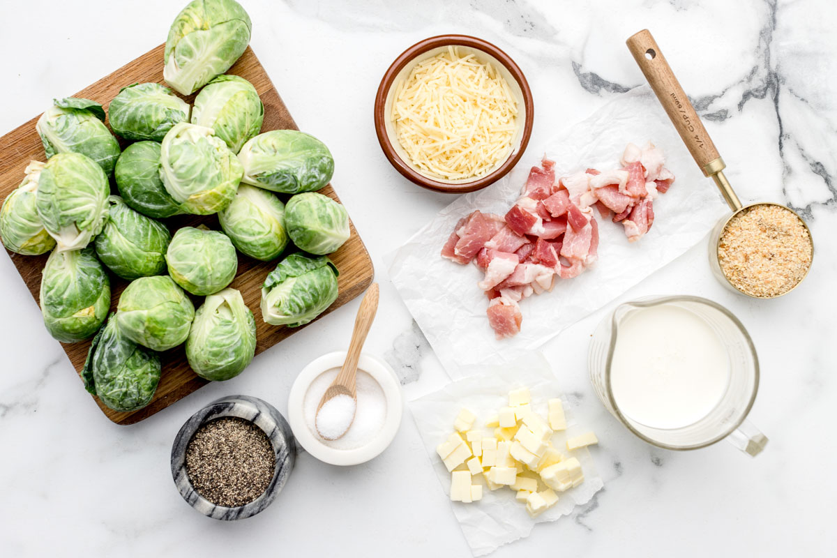 Ingredients for brussel sprout casserole recipe