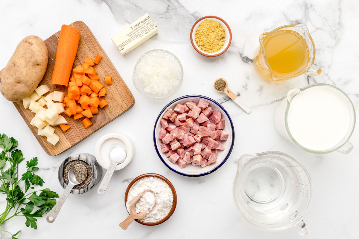 Ingredients for ham and potato soup recipe