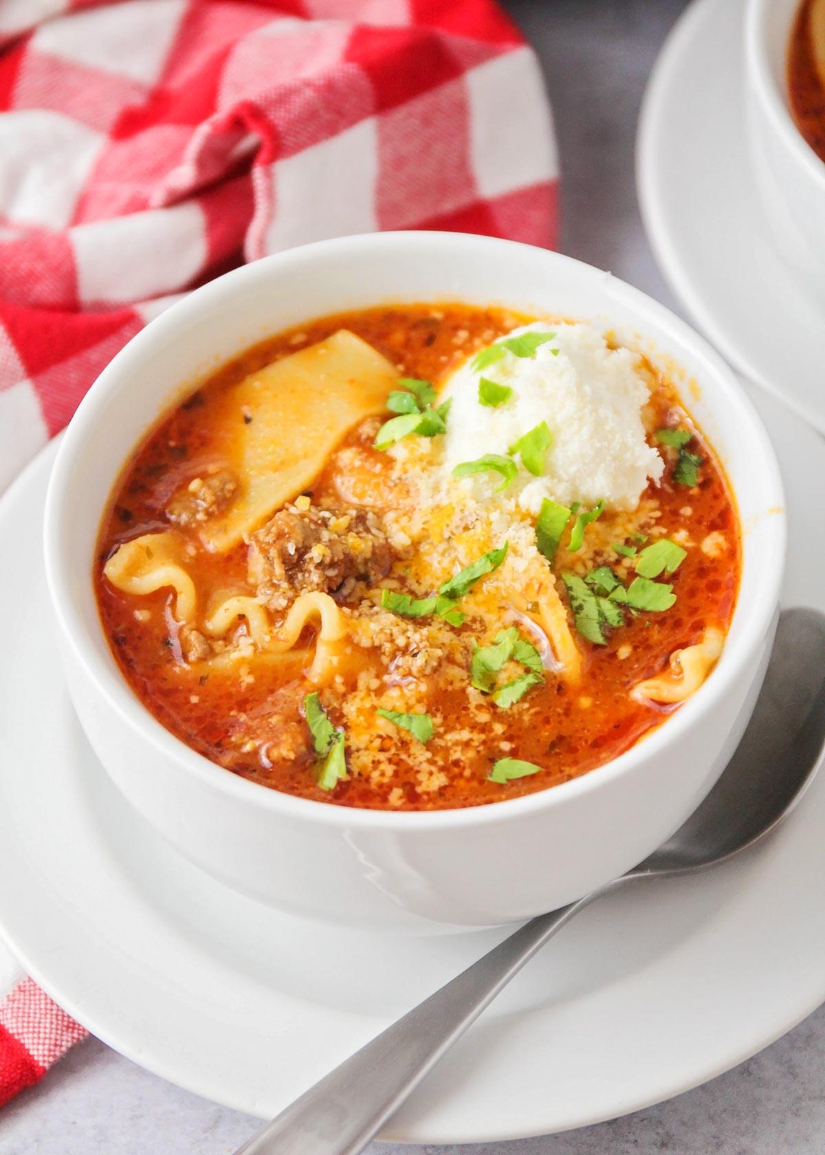 Instant Pot Lasagna Soup in a white bowl