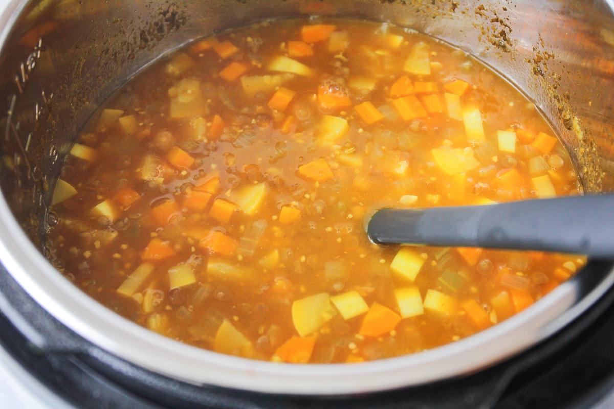 Cooking vegan lentil soup in the instant pot