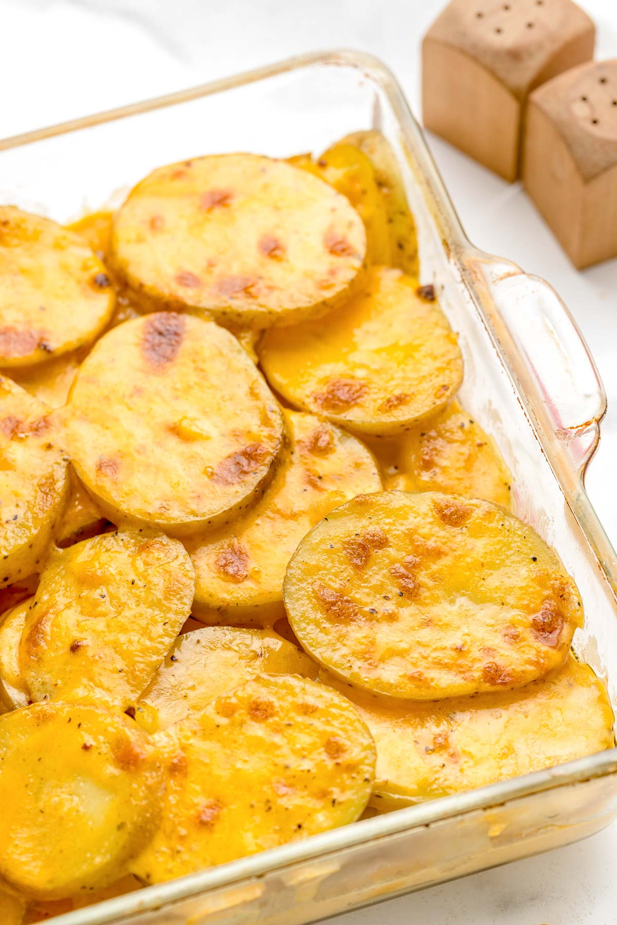 Instant pot scalloped potatoes after being browned in the oven