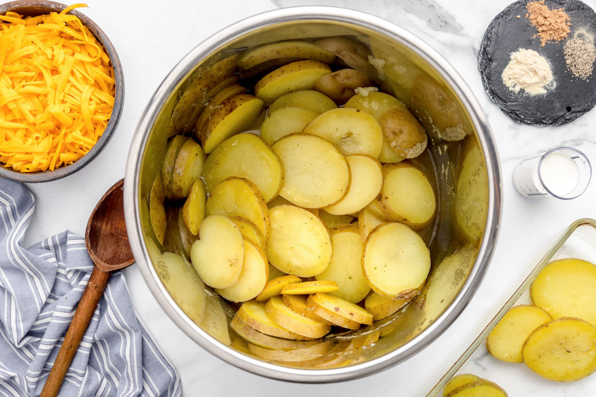 Potato slices after being pressure cooked