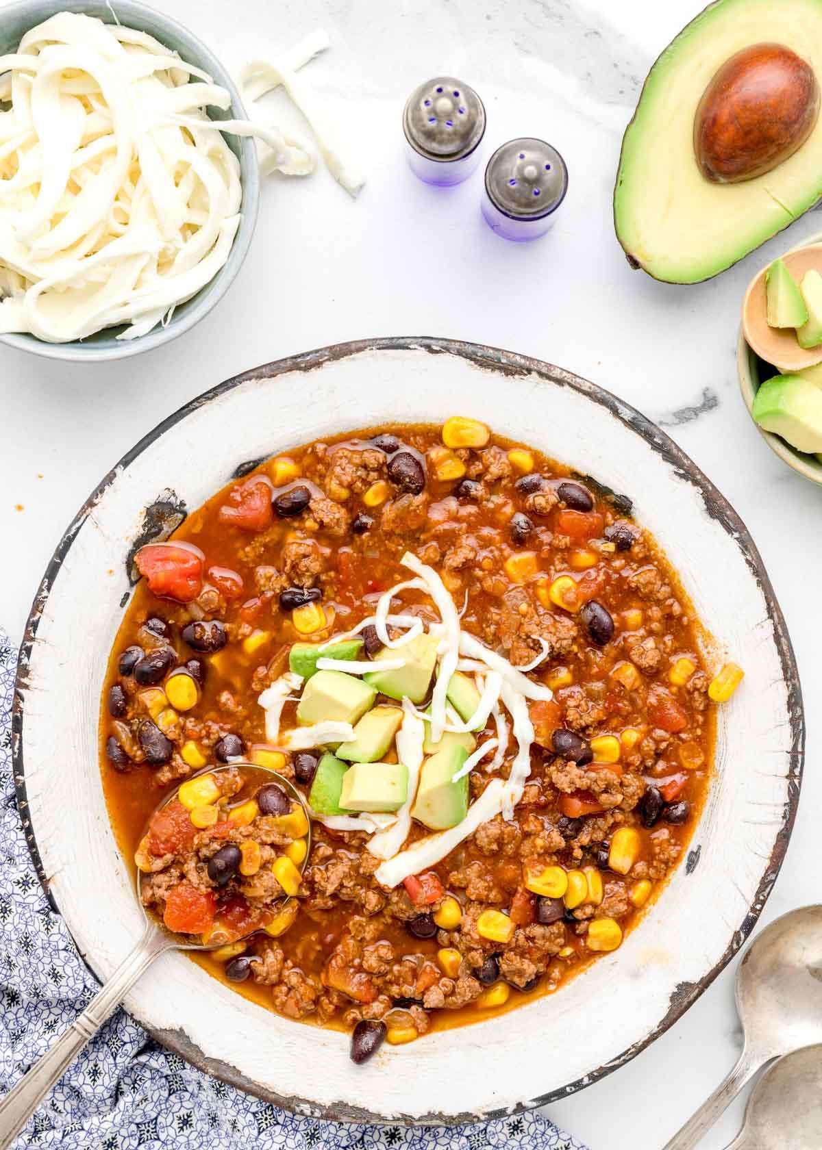 A bowl full of instant pot taco soup
