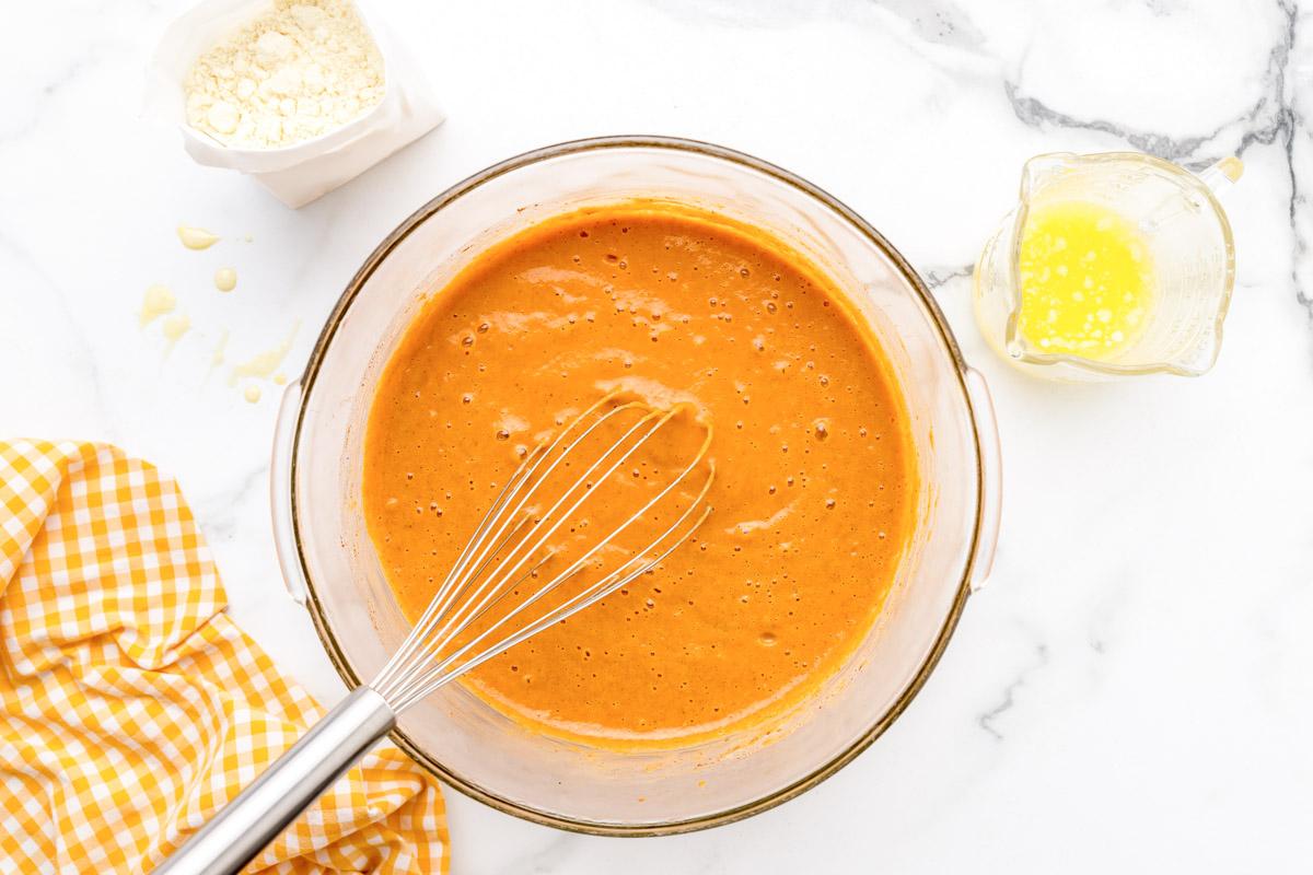 Pumpkin cobbler batter in a mixing bowl