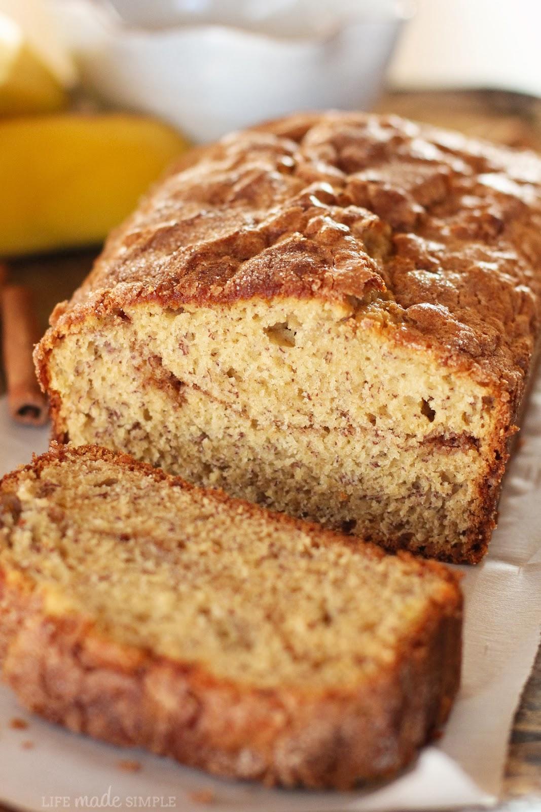 Cinnamon Sugar Topped Banana Bread