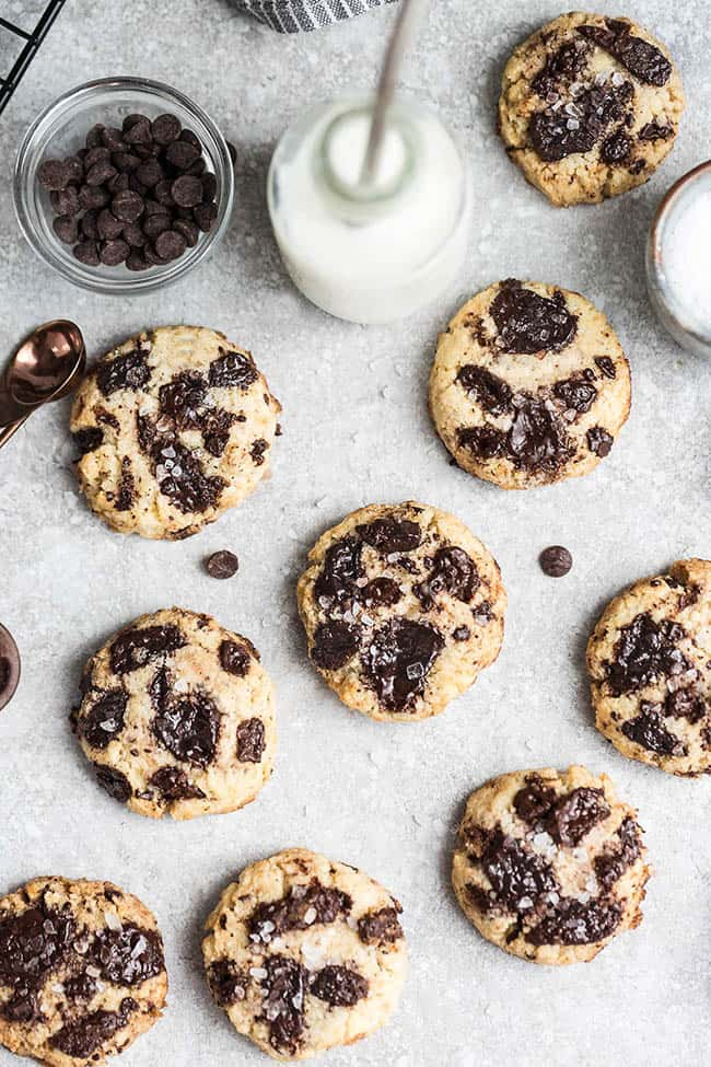 Best Ever Keto Chocolate Chip Cookies are so easy to make in just ONE bowl. Best of all, they bake up soft, chewy & make the perfect low carb, sugar free, gluten free, Paleo friendly sweet treat.