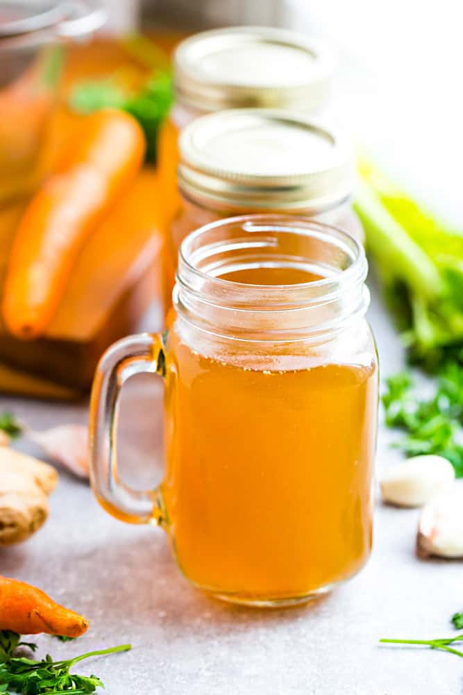 This recipe for Homemade Bone Broth is so nourishing and easy to make using your Instant Pot Pressure Cooker, slow cooker or on the stove. Best of all, made with your choice of chicken, pork, beef, turkey and a combination of nourishing vegetables. The perfect natural medicine to help heal leaky gut and get your health back. Plus makes your skin so smooth - it's better than Botox! Studies show that it can help improve auto-immune diseases as well.