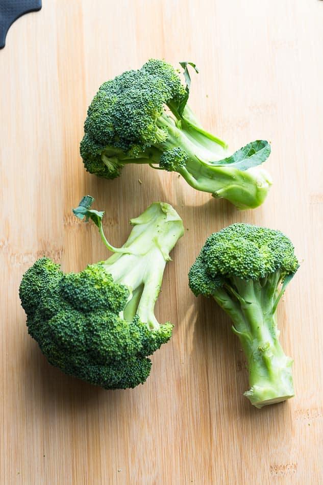 Raw Broccoli on a cutting board
