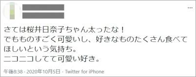 桜井日奈子ナニコレ出演時のツイート
