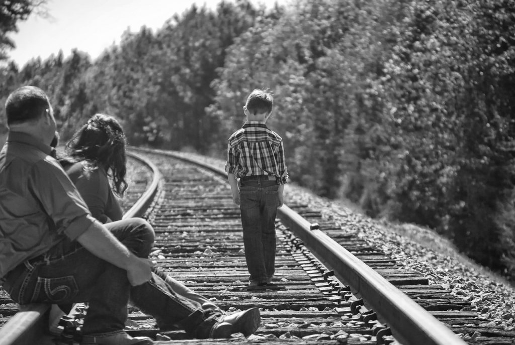 Boy Leaving his Family