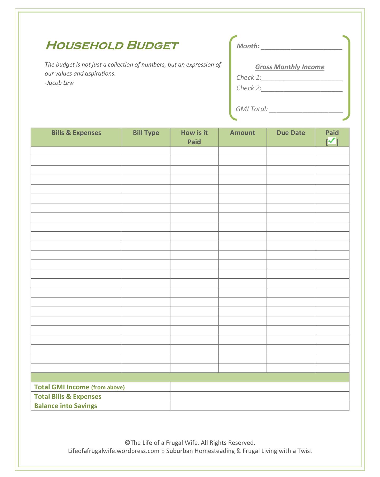 Best Bi Weekly Budget Printable