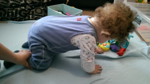 Holding himself up on all fours!
