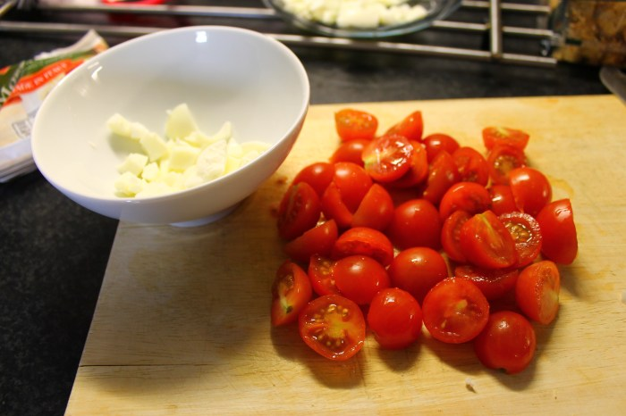 Mozzarella and Cherry Tomatoes chopped