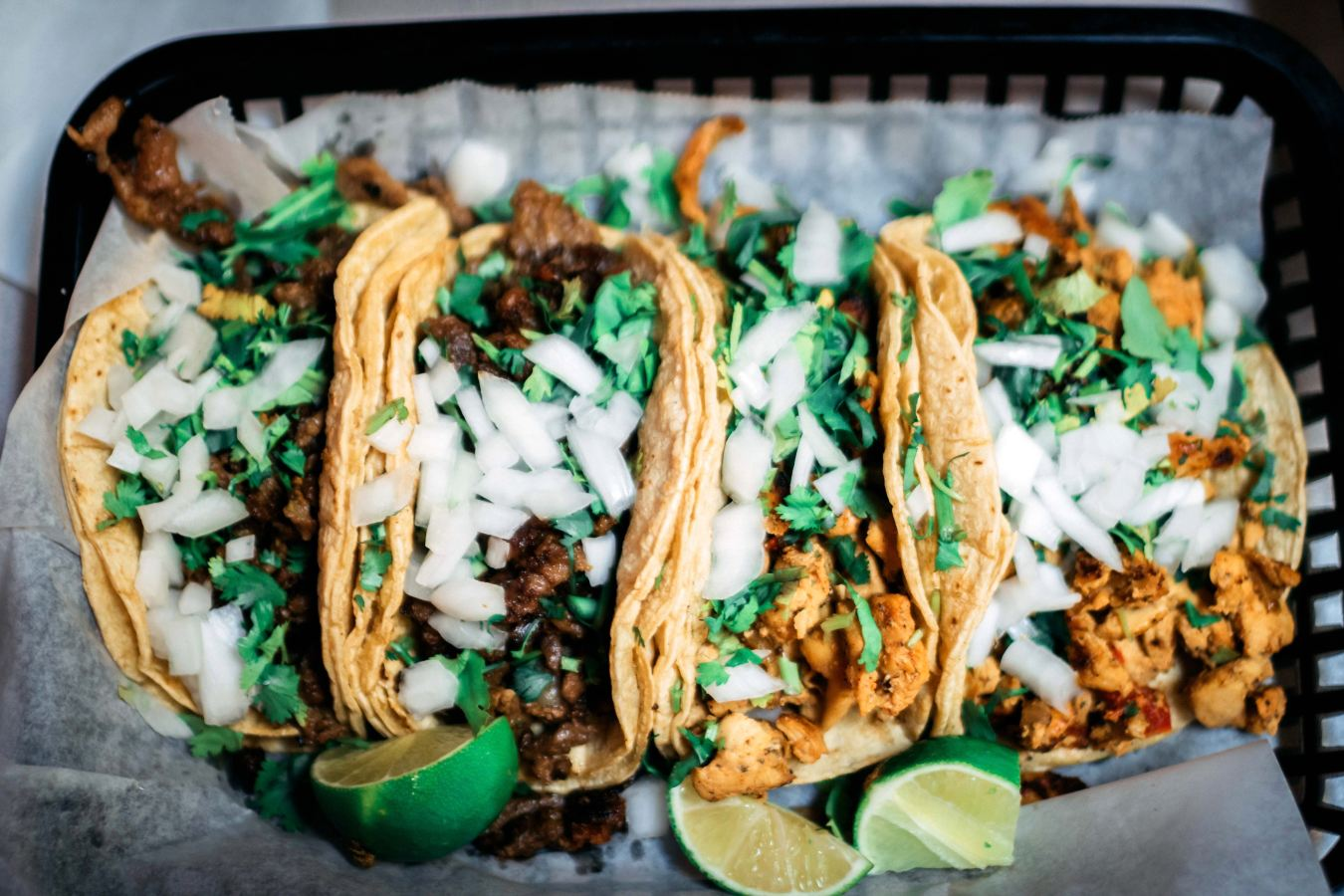 spread smiles with tacos in a basket