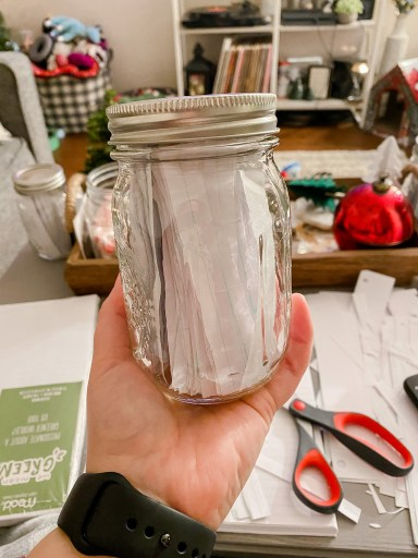 jar with strips of paper for 365 days of thankful