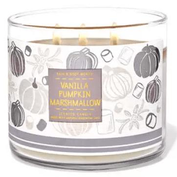 bath and body works vanilla pumpkin marshmallow fall candle