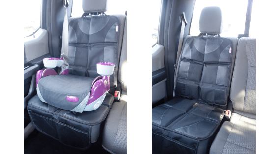 The DaffaDoot deluxe car seat protector is an easy way to keep your seat clean and protected.