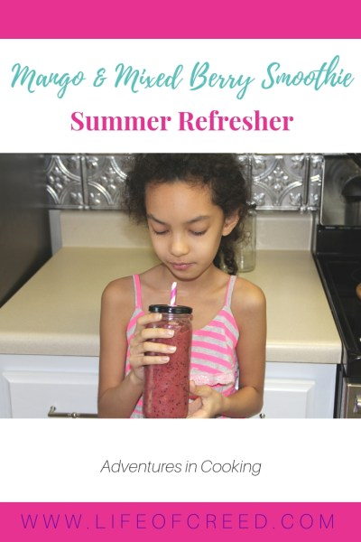 Quick and easy recipe to make a mango and mixed berry smoothie.