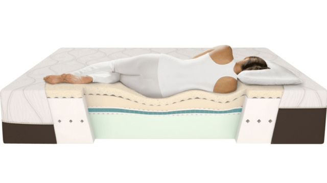 woman on mattress, showing spine alignement