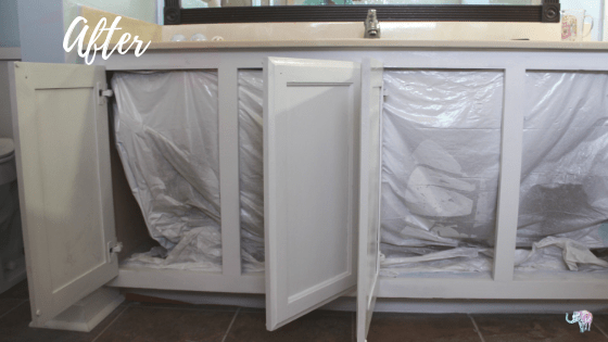 After of cabinets being painted white.