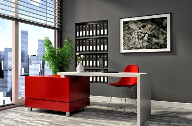 Red and white office design