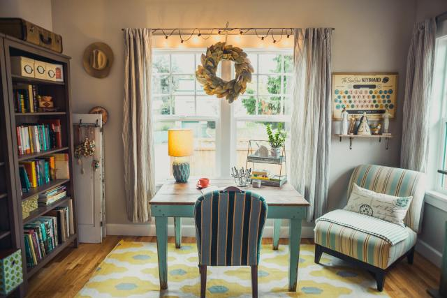 Unique paintings, cute DIY wreaths, and pumpkin-shaped décor are just some of the possible choices. Also, don't forget to switch to fall-inspired drapes as well.