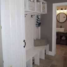 mud room, mudroom, mud-room, storage, builtins, built-ins, built ins, white, rustic, weathered, stain, cubby, cubbies, door, bench, entry, entrance, porch, interior design, orangeville, shelburne, ontario, dufferin county